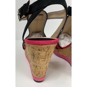 Cato Shoes - Cato Pink Suede Cork Wedge Sandals Size 8M